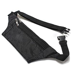 SODIAL(R) Unisex Bum bolso de la cintura de Handy Viajes Deporte Fanny Dinero Monedero Paquete Cinturon Zip Pouch - Negro   más información y revisión