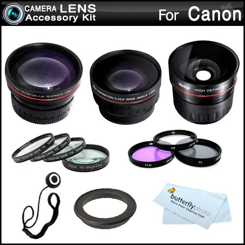 Fisheye All In Lens Kit For Canon Vixia Hf M52, Hf M50, Hf M500, M41, M40, M400 Hd Camcorder Includes 0.21X Super Wide Angle Fisheye Lens + Hd .43X Wide Angle Lens + 2.2X Telephoto Lens + 3 Pc Filter Kit (Uv, Cpl, Fld) + Close Up Kit +1 +2 +4 +10 + More