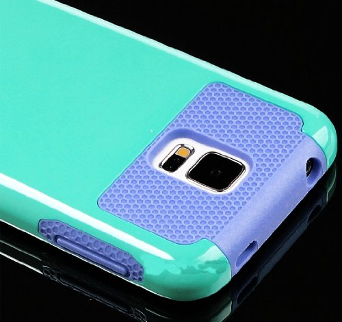 Mylife (Tm) Smooth Sky Blue And Lavender Purple - Free Flex Series (2 Layer Neo Hybrid) Slim Armor Case For The New Galaxy S5 (5G) Smartphone By Samsung (External Rubberized Hard Shell Flex Piece + Internal Soft Silicone Flexible Bumper Gel)