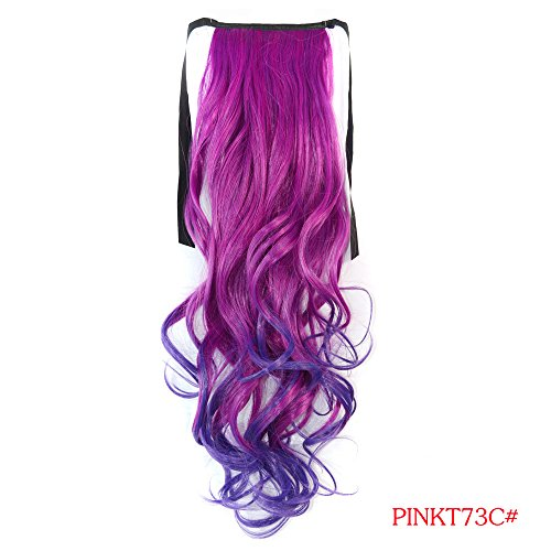 Hairqueen Fashion Long Wavy/Curly Cosplay Colorful Ponytails Clip-In Hair Extensions 100G 22Inch