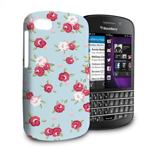 Phone Case For Blackberry Q10 - English Rose Pattern On Baby Blue Premium Cover