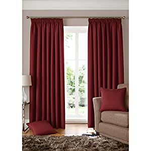 Square geometric curtains woven wine red fully lined pencil pleat curtain pair - Amazon curtains living room ...