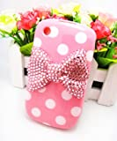 Cute 3D Bling Pink Bow White Dot Pattern Case Cover For Blackberry Curve 8520 8530 9300 9330