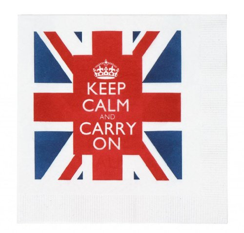 Keep Calm and Carry On Union Jack Cocktail Beverage Napkins British WWII Slogan Pack of 20 (Napkins British compare prices)