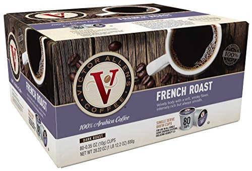 Victor Allen Coffee, French Roast Single Serve K-cup, 80 Count (Compatible with 2.0 Keurig Brewers) (K Cup Coffee 80 Count compare prices)