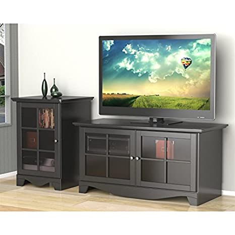 Modern Black TV Stand Set with Audio Stand FMP25274