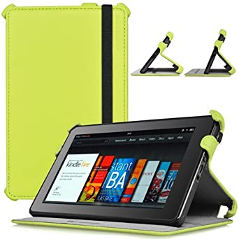 CaseCrown Ace Flip Case Cover (Green Glow) with Elastic Band Closure for Amazon Kindle Fire
