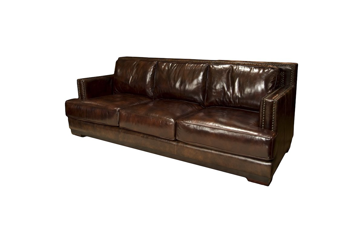 Elements Emerson Top Grain Leather Sofa - Saddle Leather