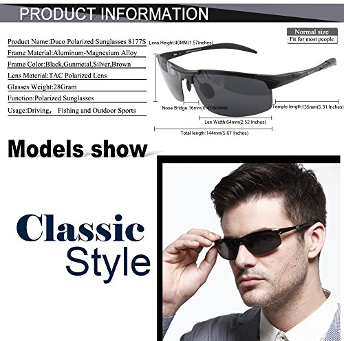 3cc8a39e70 Duco Men s Sports Style Polarized Sunglasses Driver Glasses 8177S (Black  Frame
