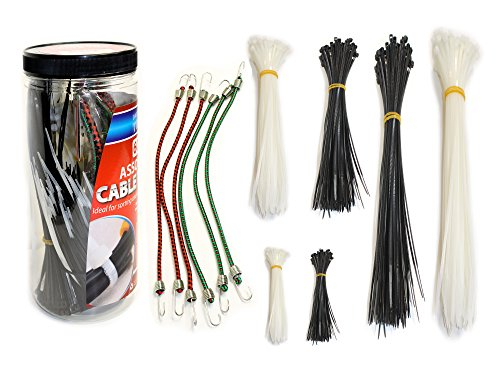 Jar of Assorted Cable Ties and Mini Bungee Cords, 600 Pieces Cable Ties in Assorted Sizes in Natural and Black Colors, 6 Mini Bungee Cords
