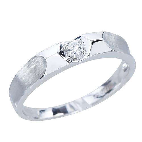 GemsLovers 18K Gold Genuine Diamond Mens Ring - April Birthstone