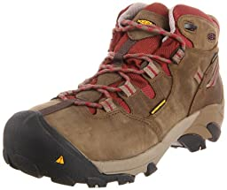 KEEN Utility Women\'s Detroit Mid Steel Toe Work Boot,Black Olive/Madder Brown,10.5 M US