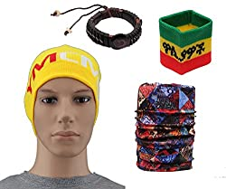 Sushito Yellow Stylish Skull Cap With Bandana & Wrist Band