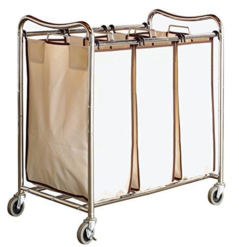 decobros-heavy-duty-3-bag-laundry-sorter-cart-chrome