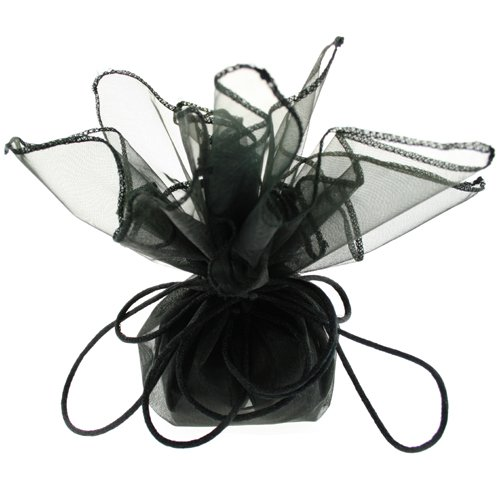 10 Designer Organza Fabric Drawstring Gift Bags Pouches Party Favor Gifts Packaging Black Medium Size