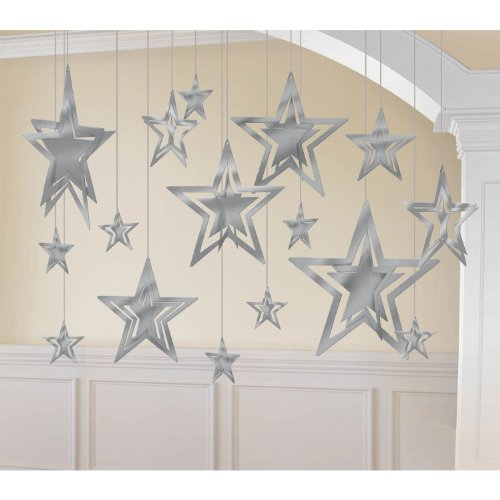 kit decoration 3d foil star silver - 1