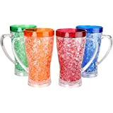 Lily's Home® Double Wall Gel Freezer Mugs. 15 Oz each - Set of 4 in Blue, Red, Orange and Green