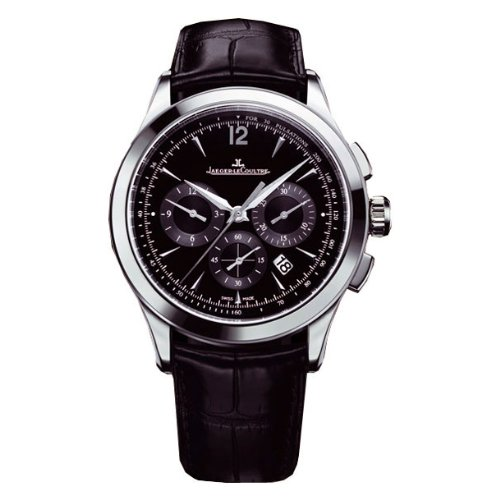 Jaeger LeCoultre Master Black Dial Chronograph Brown Leather Mens Watch Q1538470