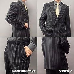 ダブルスーツ 日本製 黒ストライプ メンズ JILL PREMIUM 111175-1/111175-11 11)炭黒ストライプ LL
