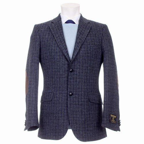 Mens Patrick Harris Tweed Jacket with Elbow Patches and Purple Satin Lining
