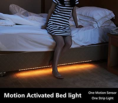 Amagle Motion Activated Bed Light , 1.2M Flexible LED Strip Night Illumination with Automatic Shut Off Timer Sensor for bedroom,cabinet,stairs