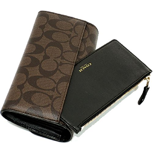 COACH SIGNATURE POP SLIM ENVELOPE WALLET BROWN BLACK F52601 IMAA8