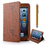 Ihomegadget Smart Stand PU Leather Case Cover & Screen Protector Stylus For Apple iPad Mini Brown