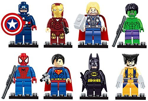 GRHOSE Iron Man Spiderman Superman Batman Hulk Wolverine 8 Mini Figures Set Lego Fit