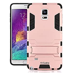 Cubix Robot Series Case Cover for Samsung Galaxy Note 4 (Rose Gold) Scratch Free Slim Hybrid Defender Bumper shock proof Case Cover With Stand