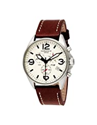 Torgoen Swiss Men's T16103 Aviation Chronograph Beige Dial Leather Strap Watch