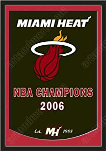 Dynasty Banner Of Miami Heat With Team Color Double Matting-Framed Awesome &... by Art and More, Davenport, IA