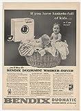 1955 Bendix Duomatic Washer Dryer Basket Kids Print Ad (24820)