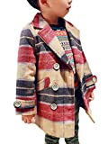 (ラウンドアース キッズ) Round Earth Kids ベビーサイズあり 男の子のあったかピーコート アウトドア風の上品ボーダーが今年風 90 レッド