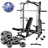 Marcy Platinum Smith Machine Home Gym & Weight Bench With 90kg Olympic Weight Setby Marcy