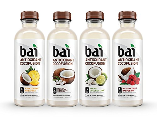 Bai Cocofusions Variety Pack, 5 Calories, No Artificial Sweeteners, 1g Sugar, Antioxidant Infused Beverage, Pack 4(PLUS BONUS 1 PENCIL POUCH)