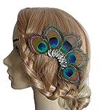 Jelindaレディース 孔雀の羽 髪飾り ヘッドドレスクリスタルヘアピン エレガント 成人式 お祭り 浴衣 演出 パーティー 宴会