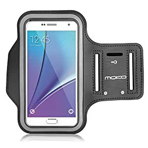 MoKo Silicone Armband for Galaxy Note 4 5.7 inch Key Holder Slot, Lightweight, Flexible, well rounded protection, Perfect Earphone Connection while Workout Running, MAGENTA