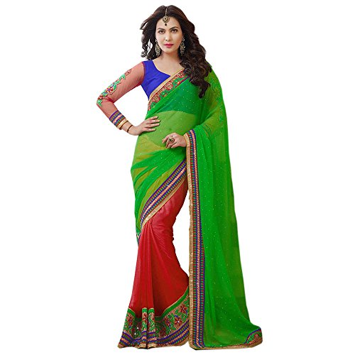 Red Fabfirki Red And Green Georgette Saree (Multicolor)