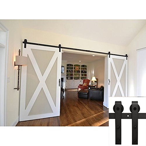 Winsoon Ship from USA Interior Double Sliding Barn Wood Door Hardware Classic Steel Roller Flat Track Kit American Country Style (12FT) (Double Bedroom Doors compare prices)