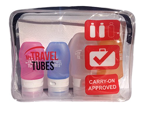 1 and 2 Ounce TSA Approved Leak Proof Silicone Bottles Set Carry-on Travel Size