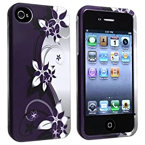 Snap-on Case with Apple® iPhone® 4 / 4S , White / Purple Flower by eForCity