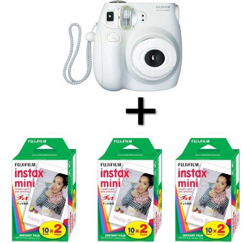 Fujifilm Instax Mini 7S Instant Film Camera White + 60 Instax Mini Film