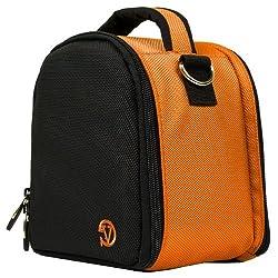 VanGoddy Laurel DSLR Camera Carrying Handbag for Nikon D5500 / D810A / D7200 / D750 / D810 / D4s / D3300 / Df / D5300 / D610 / D7100 Digital SLR Cameras + Screen Protector + Tripod Stand (Orange)