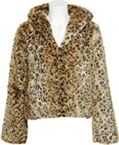 LUZ Cheetah Print Fur Hooded Jacket [LF3016], LEOPARD, SM