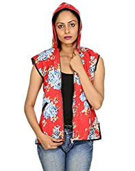 Rajrang Womens Cotton Jacket ,Red, Blue ,Small