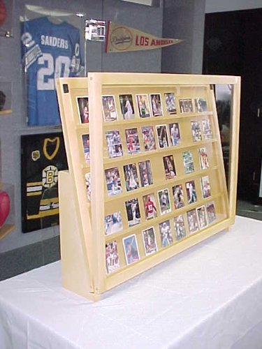Trade Show Cases 1/2 Tabletop Baseball Card Display Case / Golden Oak with Super Legs P307.5s