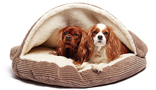 Precious Tails Coffee Brown Corduroy Round Cave Hamburger Pet Bed Sherpa Interior with Plush Fur Interior Medium