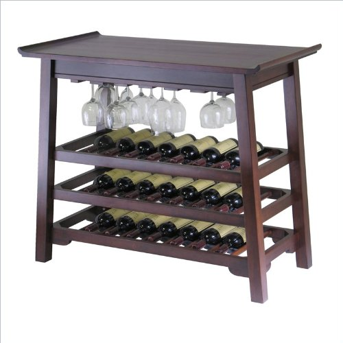 Winsome Chinois Console Wine Table with Glass Rack in Walnut