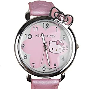 Hello Kitty Children's Flower Watch with pink petal face in cute kitty design