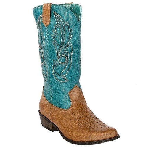 Coconuts Gaucho Womens Cowboy Boots 7.5 M Tan/turquoise